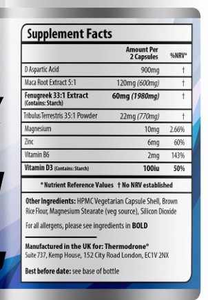 testomax ingredient label