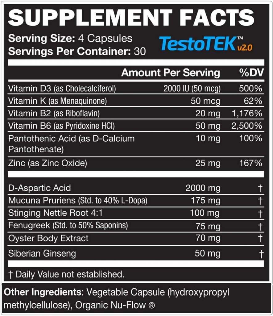 testoTEK ingredient label 2018